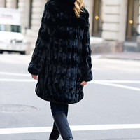 Onyx Mink Faux Fur Couture Knee-Length Coat | Fabulous-Furs