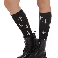 LOVEsick Black And White Cross Knee-High Socks