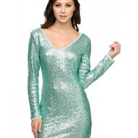 Mint Sequin Long Sleeve Dress