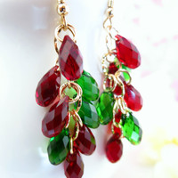 Christmas red and green Swarovski crystal gold chandelier earrings