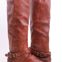 COGNAC FAUX CRINKLE LEATHER BUCKLE STRAP KNEE HIGH RIDING BOOTS