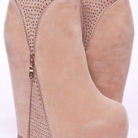 TAUPE VELVET ZIPPER BEADING ACCENT PLATFORM WEDGE BOOTIES