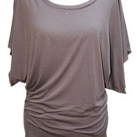 YogaColors Crystal Boatneck Dolman Sleeve Blouse Jersey Tee Up to Plus Size (XX-Large, Dirt)