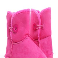 FUCHSIA FAUX SUEDE LIGHT WEIGHT FAUX FUR ANKLE BOOTS