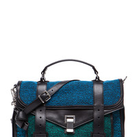 Medium PS1 Tweed and Leather Satchel in Emerald & Cerulean & Ocean