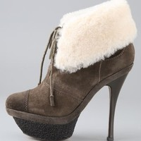 Pier Suede Booties with Shearling Cuff