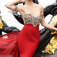 Floral Embellished Gown by Tarik Ediz
