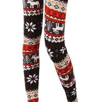 Amour-Women Snowflake Christmas Pattern Ankle Length Legging One Size Multicolored (Regular, Red Deer)