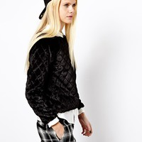 River Island Faux Fur Quilted Sweat