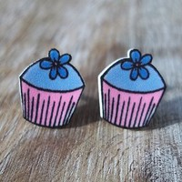 Flower Cupcake Earrings