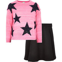 GIRLS PINK STAR JUMPER AND SKATER SKIRT