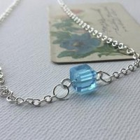 Aqua Crystal Cube Solitaire Necklace