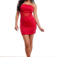 Red Lace Insert Strapless Dress