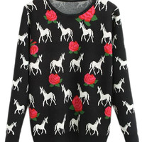 ROMWE | ROMWE Rose & Horse Knit Black Jumper, The Latest Street Fashion