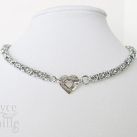 Crystal Shadow Sweetheart Chainmaille Necklace - Adjustable Crystal Necklace