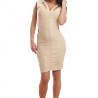 Gold Shimmery Bandage Dress