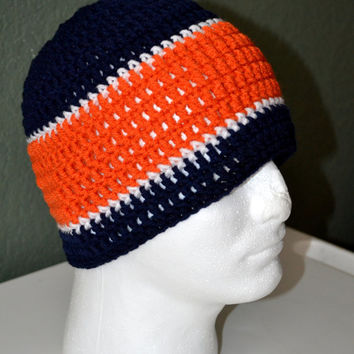 Chicago Bears Crochet Skullcap. Chicago Bears Beanie. Sports Beanie. FREE US Shipping