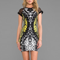 Motel Baylee Dress in Neon Scales Yellow Mix