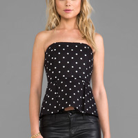 Alice + Olivia Strapless Peplum Top in Black & Whtie