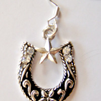 Horseshoe Cowgirl Earrings with Star Rhinestone Diamonds and Embossed Floral Design