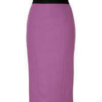 L'Wren Scott - Mauve Wool-Blend Pencil Skirt with Black Waist