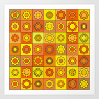 Yellow and Orange Hippie Flower Pattern Art Print by Hippy Gift Shop