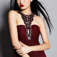 CACHET Wine Embellished Key Hole Neckline Gown
