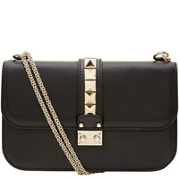 Valentino Medium Black Lock Leather Bag | Designer Handbags by Valentino | Liberty.co.uk