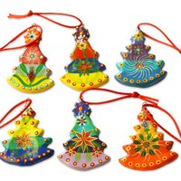 Handmade Tree Ceramic Ornaments (Set of 6) - Christmas Tree | NOVICA
