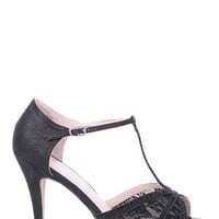 open toe dressy high heel with lace detail