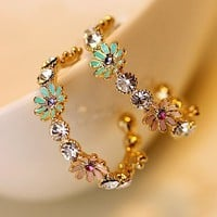 Daisy Flowers Garden Rhinestone Fashion Earrings