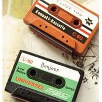 Vintage inspired cassettes wood mounted Rubber Stamp
