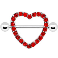 Ruby Red Gem Hollow Heart Nipple Shield | Body Candy Body Jewelry