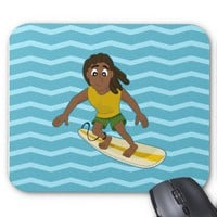 Surfing guy cartoon mousepad