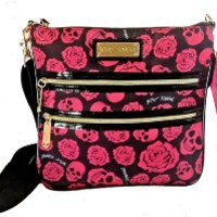 Betsey Johnson 2 Zip Cross Body Tossing Skulls N Roses Black Pink RARE