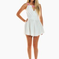 White V-Neck Layered Playsuit with Pink Chain Neck Detail