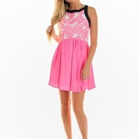 Pink & White Floral Skater Dress with Black Trim Detail