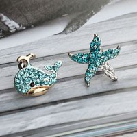 Whale And Starfish Asymmetrical Earrings