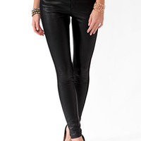 Paneled Faux Leather Pants