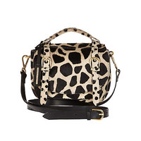 BROWN ANIMAL PRINT PONY HAIR SATCHEL