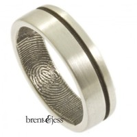 Brushed Finish Offset Modern Line Wedding ring with Fingerprint - brent&jess