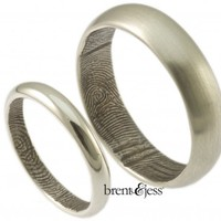 10k white Custom low dome wedding ring set with interior wrapped fingerprint rings - brent&jess