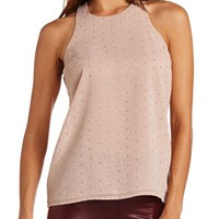 ZIP-BACK STUDDED CHIFFON TANK