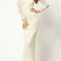 Ivory Lace Long Sleeve V-Neck Maxi Dress