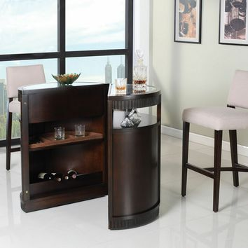 Knox collection round dark cherry finish from amb for Wooden bar unit