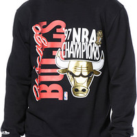 NBA Mitchell and Ness Chicago Bulls Champ Black Crew Neck Sweatshirt