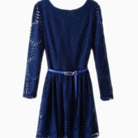 Navy Floral Lace Skater Dress