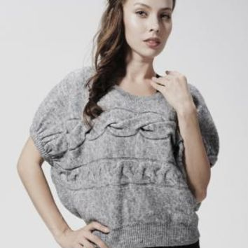 Gray Cable Knit Bat Sleeve Sweater