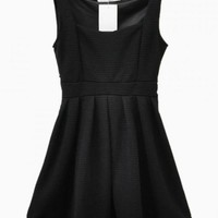 Black High Waisted Mini Skater Dress