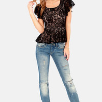 LULUS Exclusive A Lace of Our Own Black Lace Top